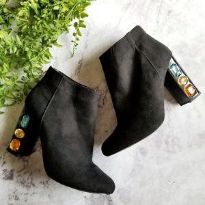Shoedazzle | Cassey Black Embellished Ankle Boots